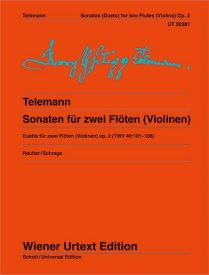 Telemann: 6 Sonatas for 2 Flutes (or Violins) Opus 2 TWV 40:101-106 published by Wiener Urtext